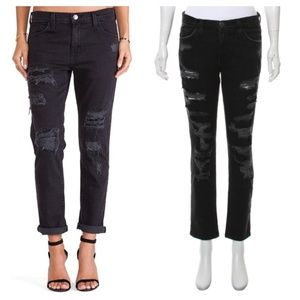 CURRENT/ELLIOTT The Fling Distressed Black Jeans